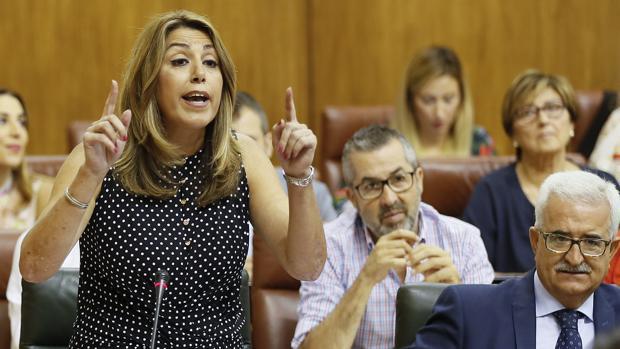 Susana Díaz durante la sesión de control