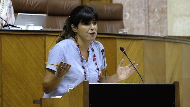 Teresa Rodríguez en su intervención en el Parlamento