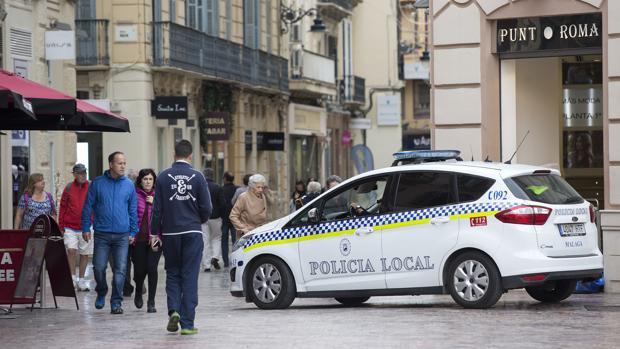 Imagen de archivo de la Policía Local en el centro de Málaga