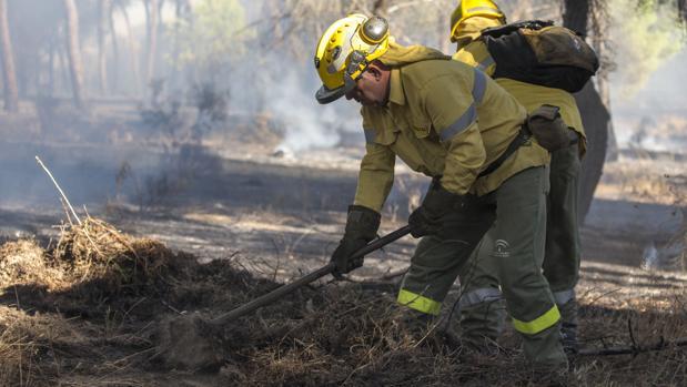 Dos operarios luchan contra las llamas en Gibraleón