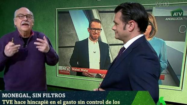 El periodista Ferran Monegal, junto al presentador de la Sexta Noche