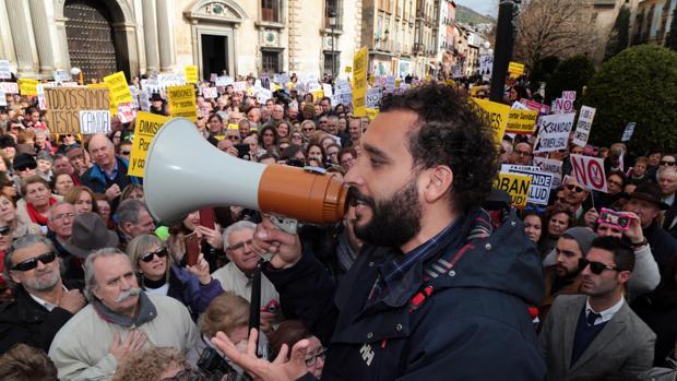 Jesús Candel, Spiriman, durante una de las protestas convocadas en Granada en 2017