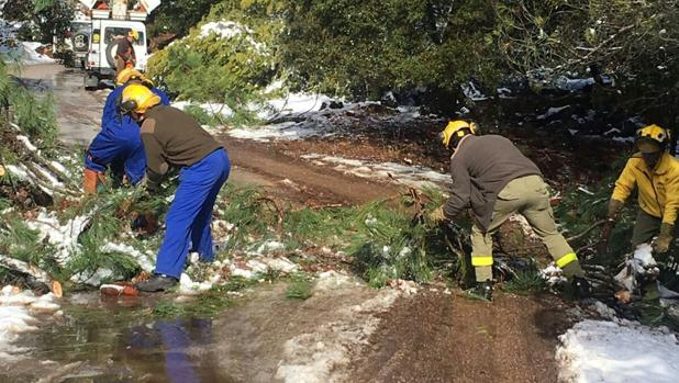 Imagen de los trabajadores de Amaya con unos simples jerseys rodeados de nieve