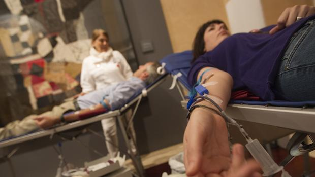 Dos personas donando sangre
