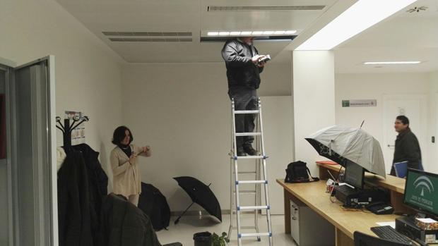 Trabajadores fotografían un ordenador protegido con un paraguas