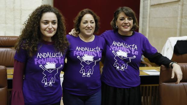Las diputadas de Izquierda Unida, Inmaculada Nieto (i), María Carmen Pérez( c) y Elena Cortés muestran sus camisetas reivindicativas en el Parlamento