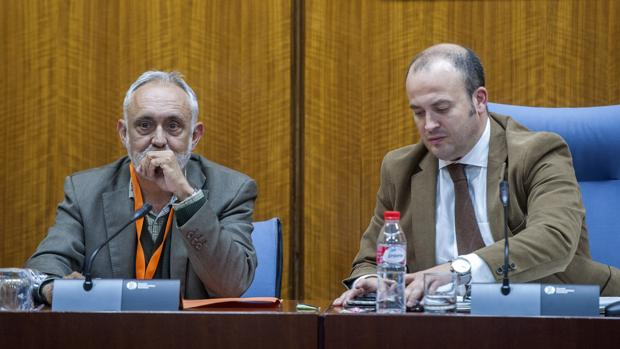 Fernando Villen Rueda, exdirector general de la Faffe (izquierda) en el Parlamento andaluz