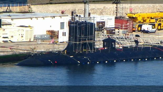 Imagen del submario USS John Warner en la base naval de Gibraltar