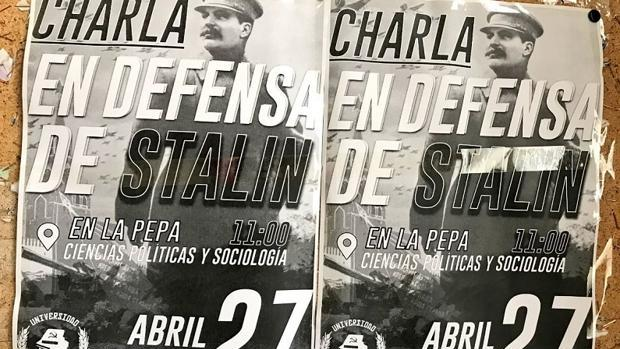 Carteles de la charla «En defensa de Stalin», auspiciada por la Universidad de Granada.