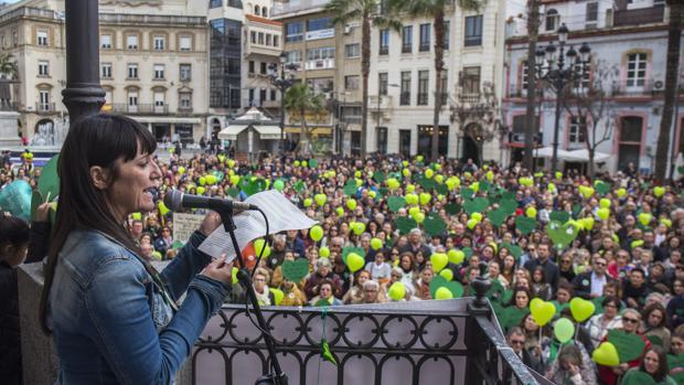 Marianela Olmedo, durante una reciente manifestación en Huelva