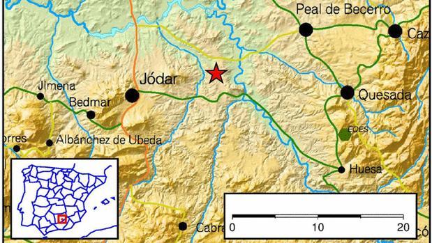Mapa del terremoto producido en la madrugada de este martes en la provincia de Jaén