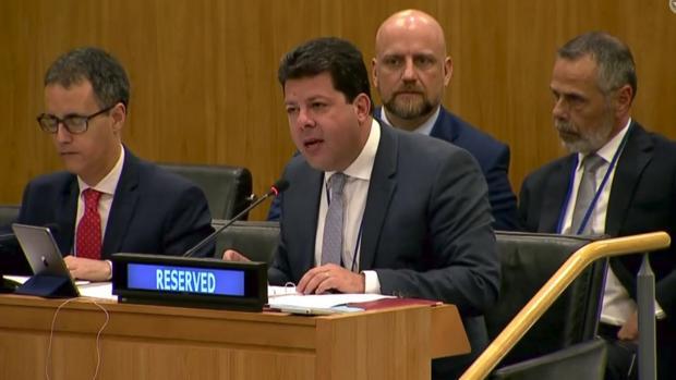 Fabian Picardo, duante su intervención ante el Comité de la ONU.