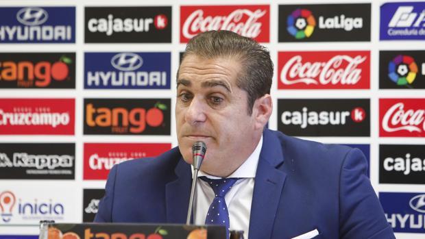 El entrenador ex del Córdoba CF José Ramón Sandoval, este miércoles, en la sala de prensa del Arcángel