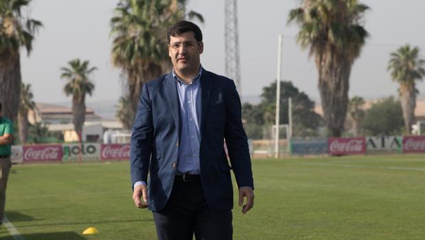 El presidente del Córdoba CF, Jesús León, el miércoles en la Ciudad Deportiva