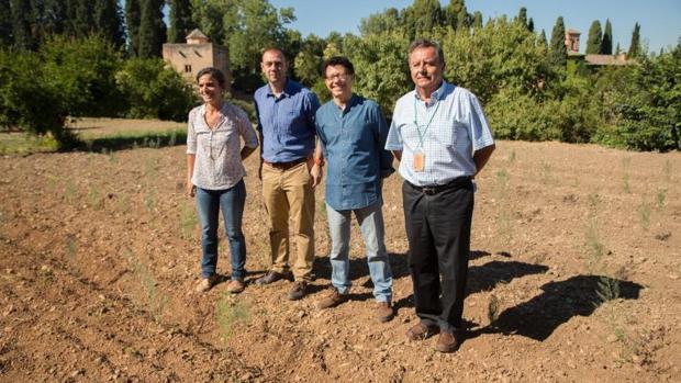 En el centro, el delegado de Agricultura, Manuel García, y el director de la Alhambra, Reynaldo Fernánez.