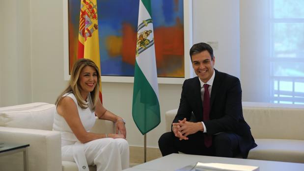 Susana Díaz en su visita a Pedro Sanchez, en la Moncloa