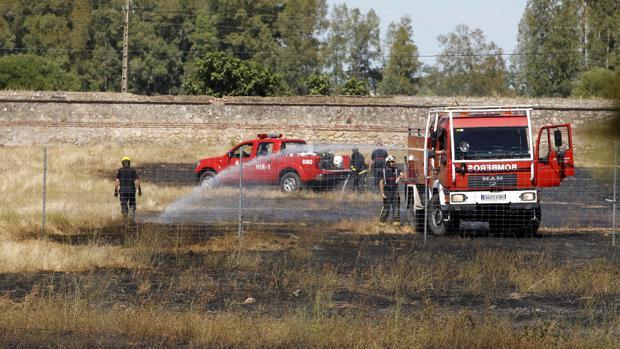 Un equipo de bomberos actuando en un incendio