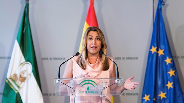 Susana Díaz durante la presentación este viernes en San Telmo de la Bienal de Flamenco de Sevilla