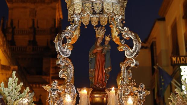 La Virgen de la Fuensanta en su procesión del pasado año