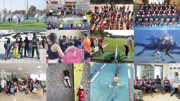Collage con imágenes de distintas actividades realizadas en los Ciclos Formativos Deportivos de Colegio Trinidad