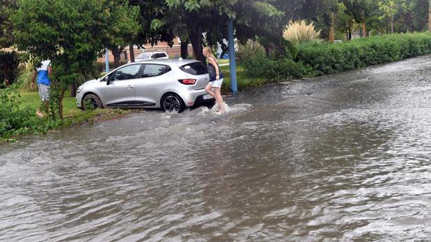 Una de las zonas anegadas en Málaga por la lluvia