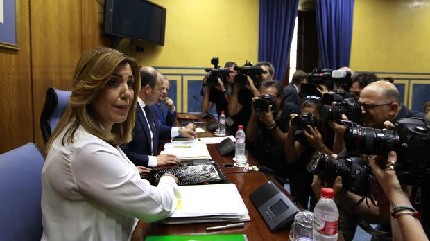 Susana Díaz durante su comparecencia en la comisión sobre el fraude en la Formación en 2016