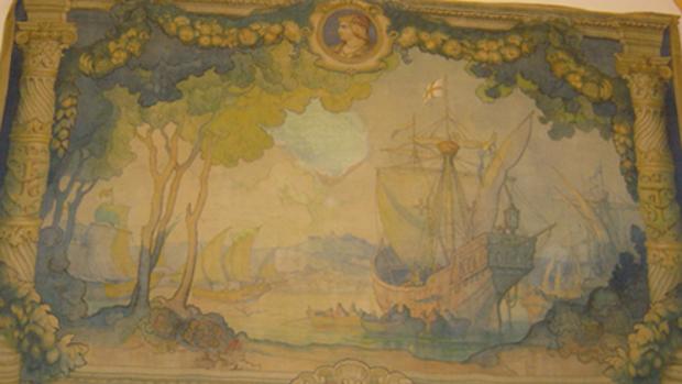 Fragmento del tapiz que aclara, según la fundación, que Cataluña descubrió América