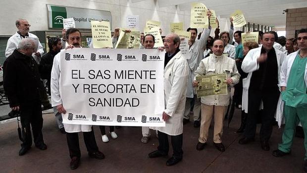 Manifestación de sanitarios en un centro sanitario andaluz