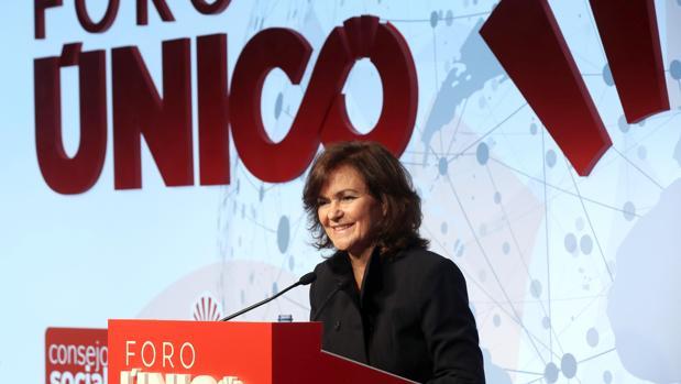 Carmen Calvo, durante la presentación del Foro Único