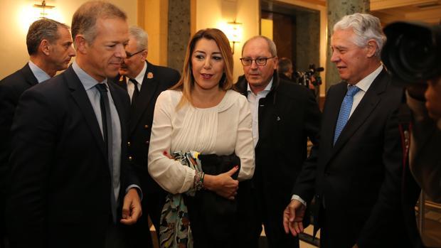 Susana Díaz,, a su llegada al Senado para comparecer en la comisión de la financiación ilegal