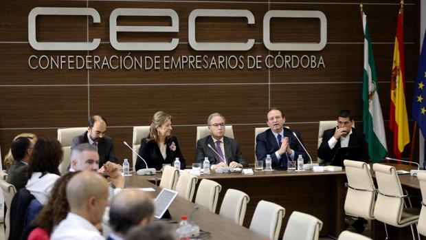 Antonio Díaz, el presidente de CECO, al inicio de las jornadas, este lunes