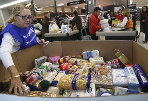 Alimentos aportados en una edición de la Gran Recogida