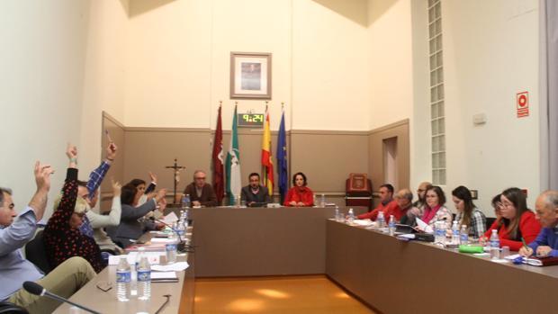 Un momento del Pleno de Baena en plena votación