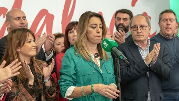 Susana Díaz, con cara de circunstancias tras los malos resultados del PSOE