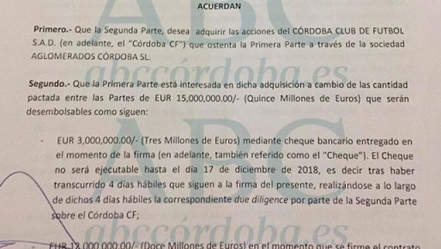 Imagen del preacuerdo de venta del Córdoba CF en la primera página