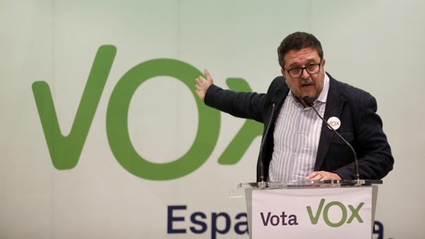 Francisco Serrano, portavoz de Vox en Andalucía durante un mitin en Córdoba