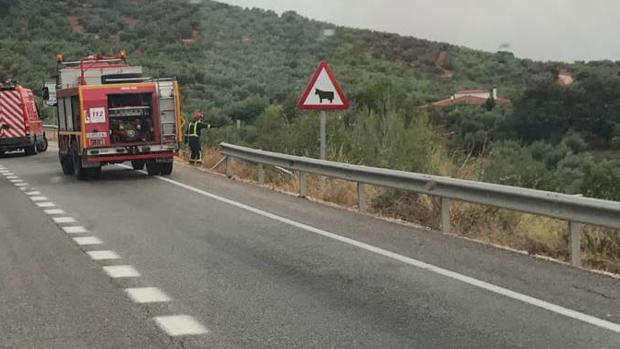 Accidente en una carretera de Cabra