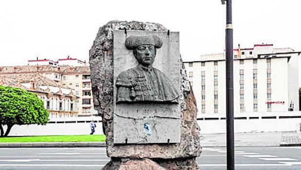 El busto de Guerrita, frente a la Diputación, en una imagen de archivo