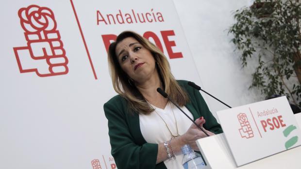 Susana Díaz, ayer en la primera comparecencia pública que realiza desde el pasado 11 de diciembre