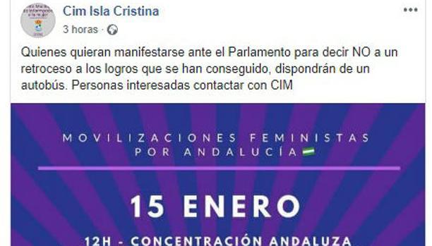 El anuncio publicado y retirado por el centro de Isla Cristina