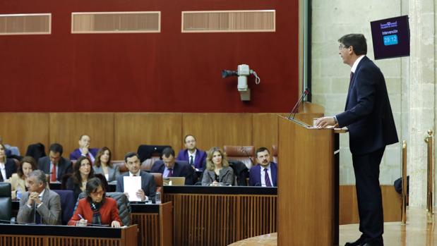 Juan Marín, durante el debate de investidura