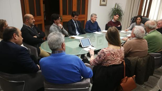 Un momento de la reunión hoy de la alcaldesa con los cinco colegios profesionales por la demora de licencias