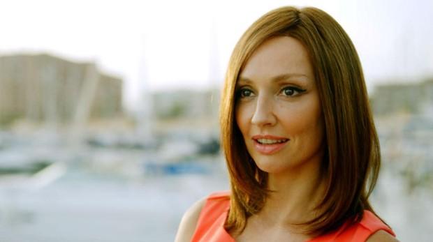 La actriz Cristina Castaño durante el rodaje de la serie