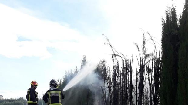 Dos bomberos sofocan el fuego en el parque Andrés de Vandelvira