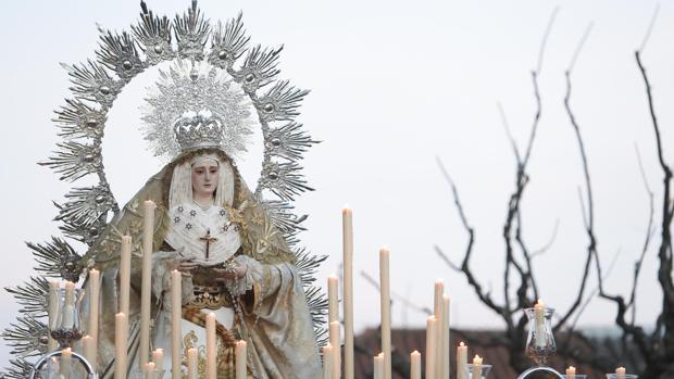 La Virgen del Rayo, en su salida procesional del Sábado Santo de 2018