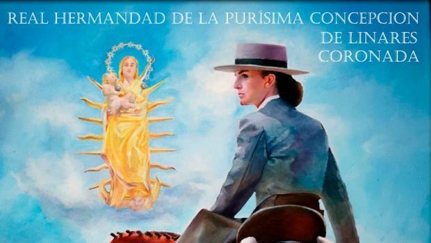 1f27f3aca50 El artista Eloy Morales ilustra la Romería de Linares con una cordobesa  montada a caballo