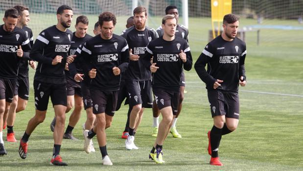 Varios jugadores de la plantilla del Córdoba trotan en un entrenamiento