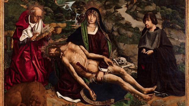 Fragmento de la «Piedad Desplá», una de las obras más reconocidas de Bartolomé Bermejo