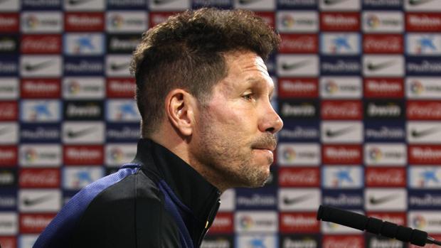 Diego Simeone, durante la rueda de prensa previa al partido con el Español