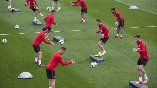 Entrenamiento del Atlético de este sábado antes del partido ante el celta